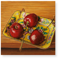Three Cherries on a Cantonese Dish m
